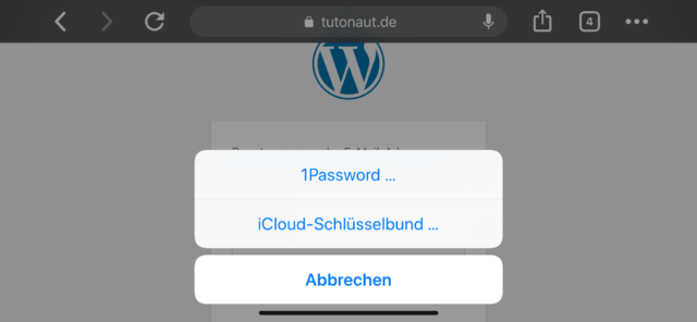 Apple Passwortmanager aussuchen
