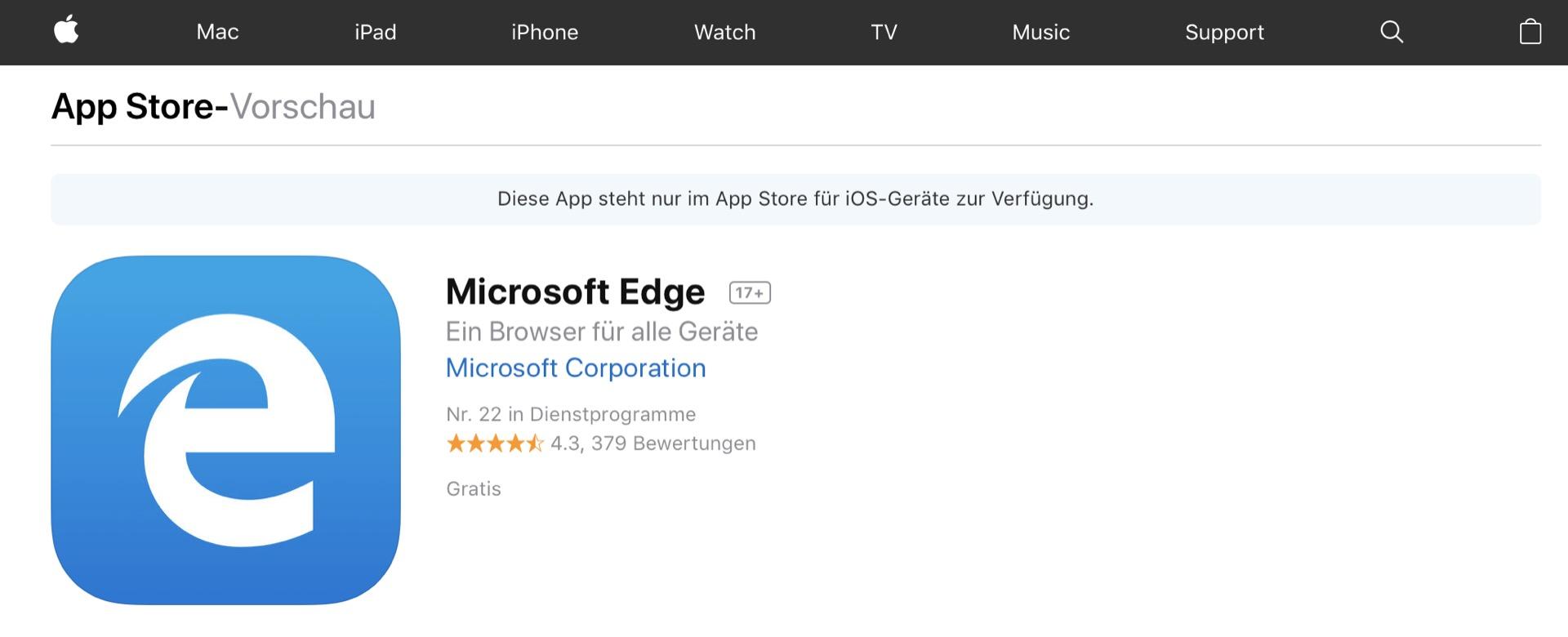 Edge gibt es auch für iOS und Android.
