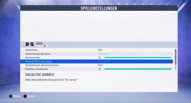 FIFA 19 Optionen Sprache