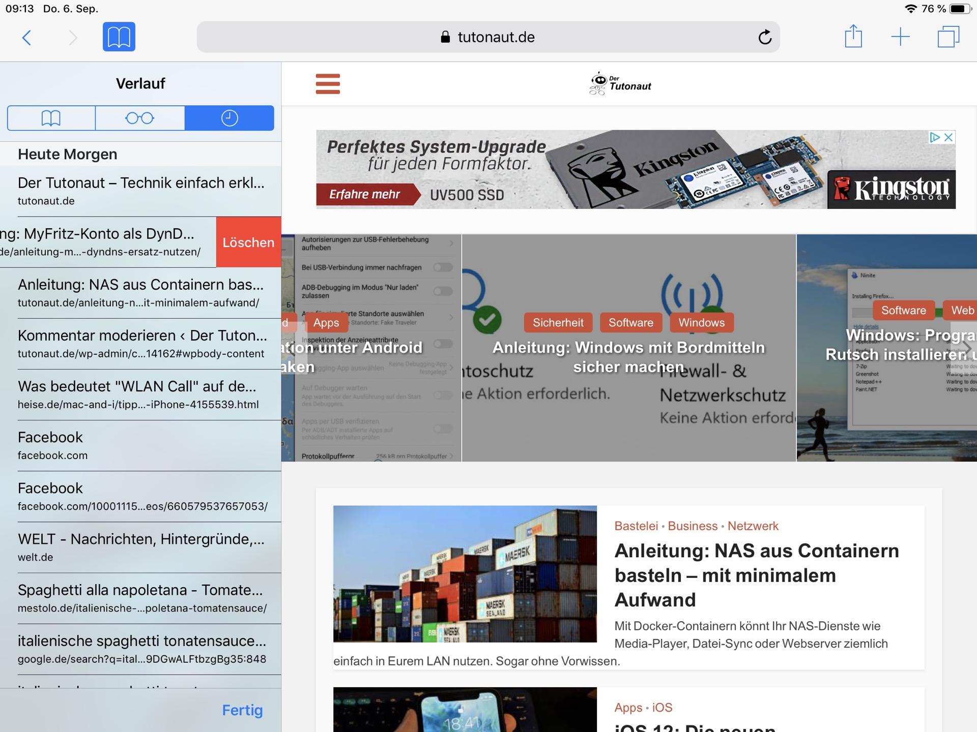 Jeder moderne Browser – hier Safari auf dem iPad – erlaubt das Löschen von Einzelseiten.