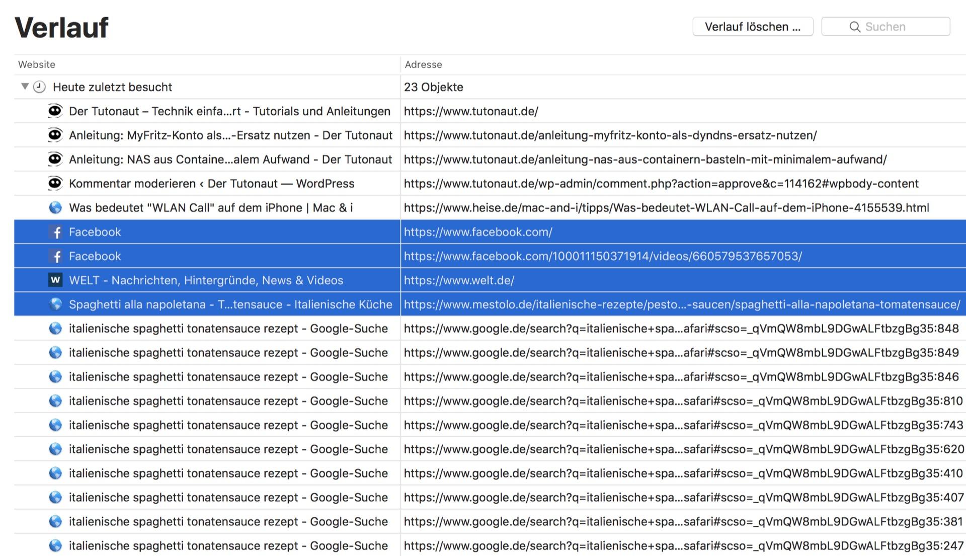 Mehrere Verlaufsobjekte in Safari löschen? Auf dem Mac kein Problem!
