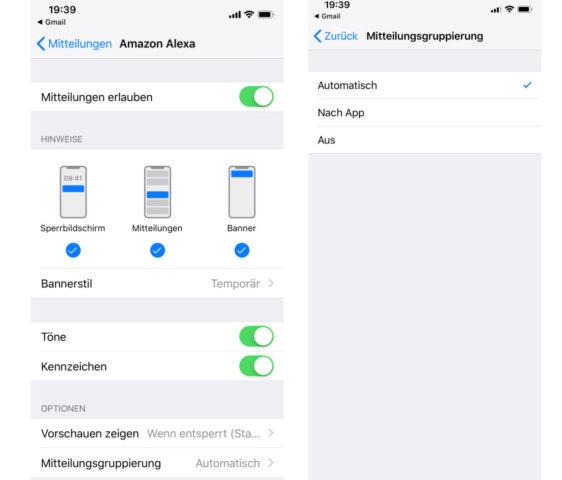 iOS 12 Benachrichtigungen konfigurieren