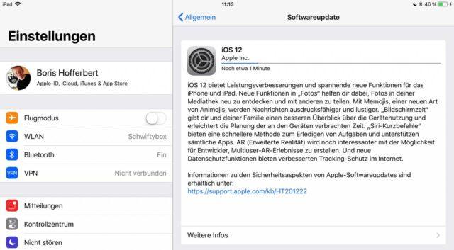 iOS 12 Update installieren