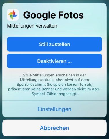 iOS Benachrichtigungen Schnelleinstellungen