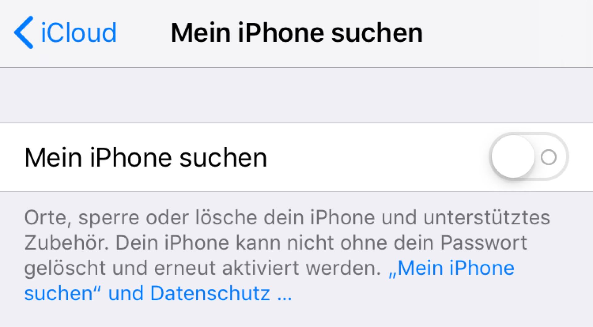 Ihr müsst das iPhone nun von der iCloud entkoppeln.
