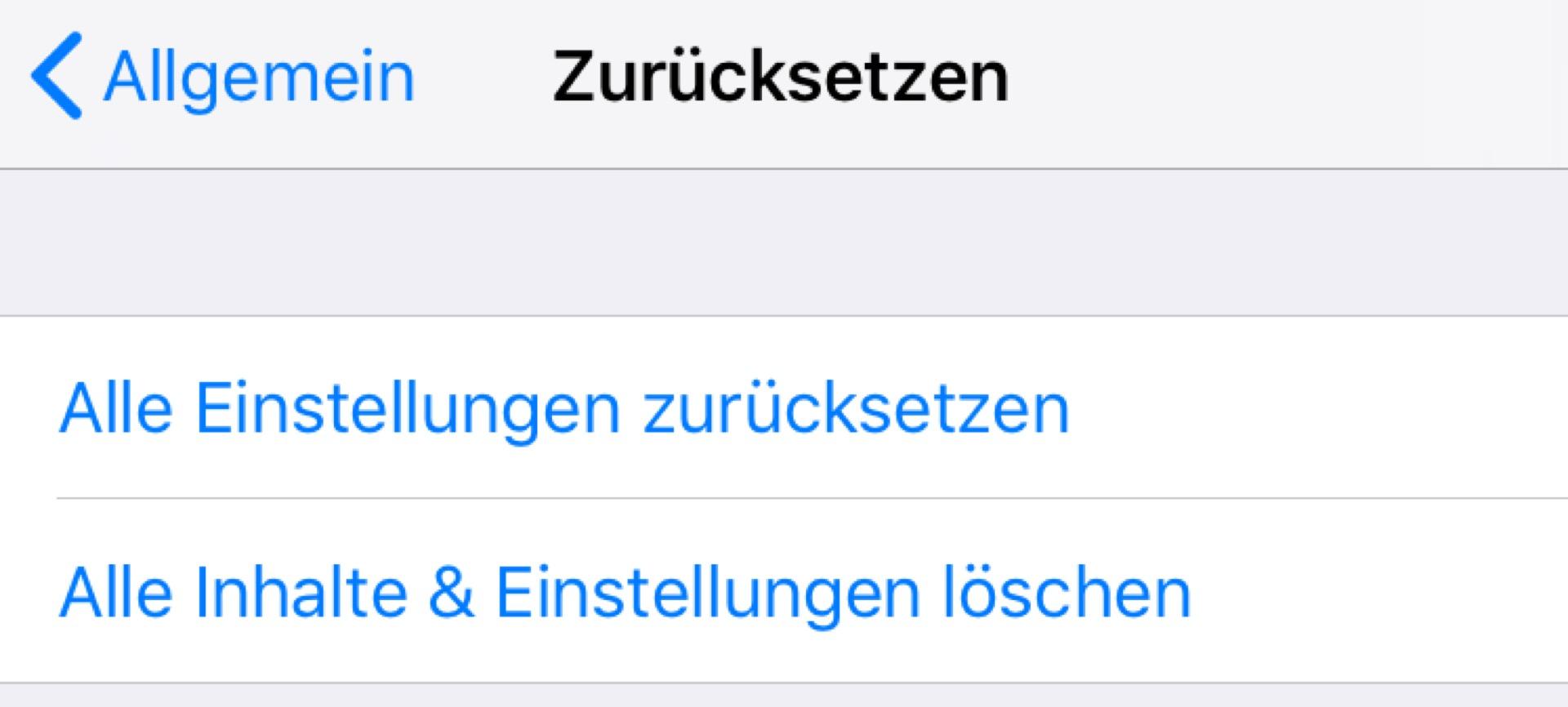 Zuguterletzt könnt Ihr das iPhone zurücksetzen.