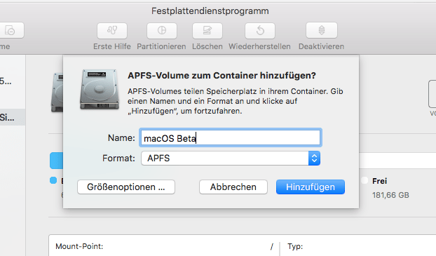macOS New Volume