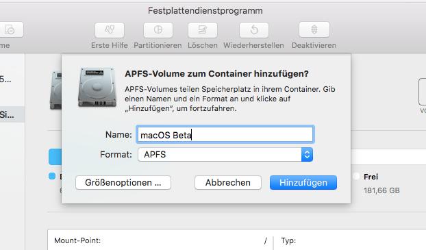 macOS New Volume