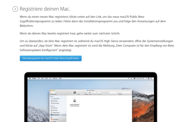 macOS Beta registrieren