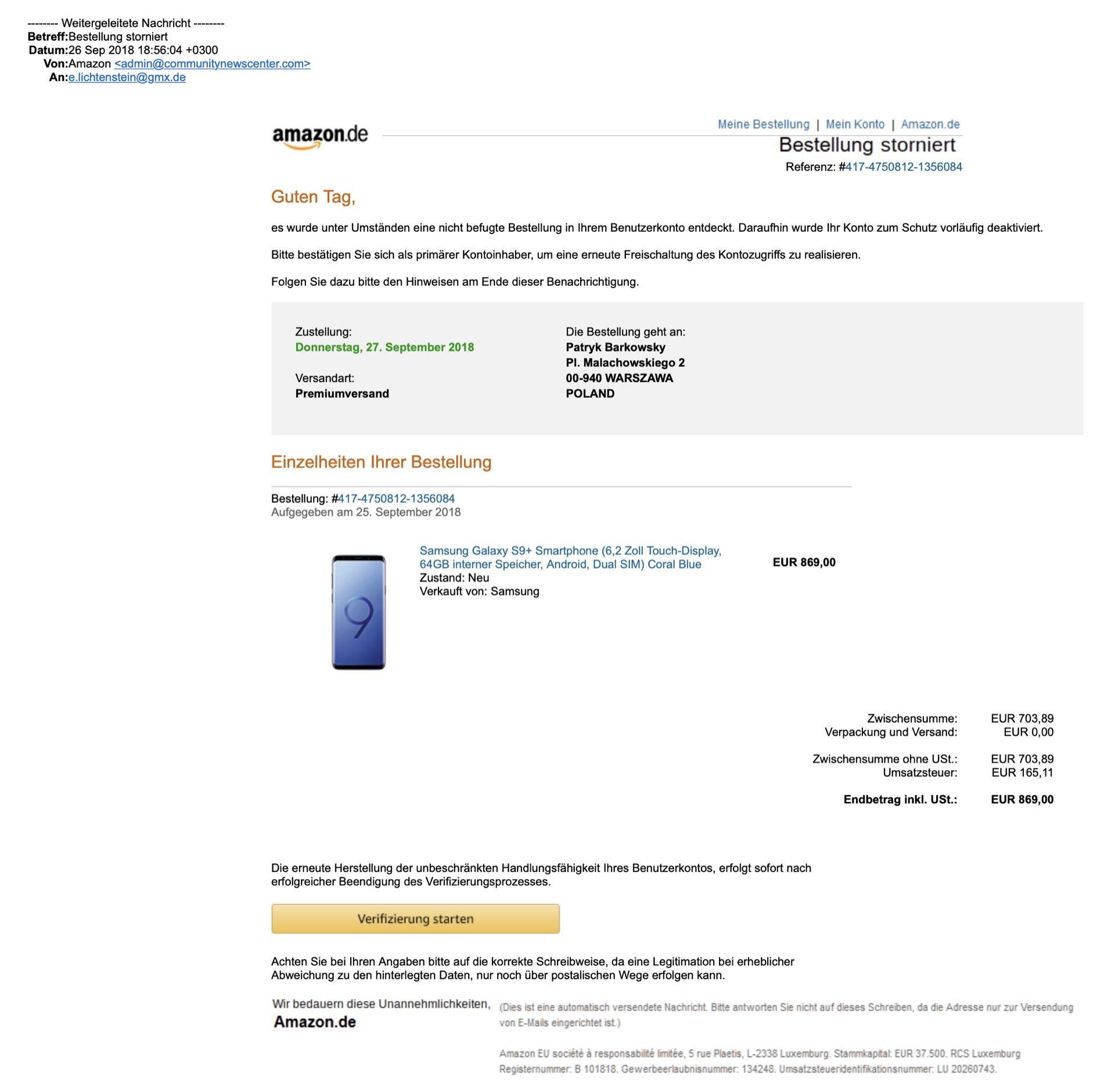 Amazon-Phishing: Fies und nicht sofort erkennbar.