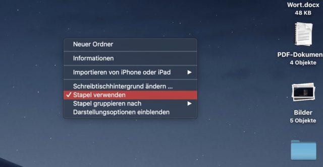 Bildschirmstapel aktivieren macOS