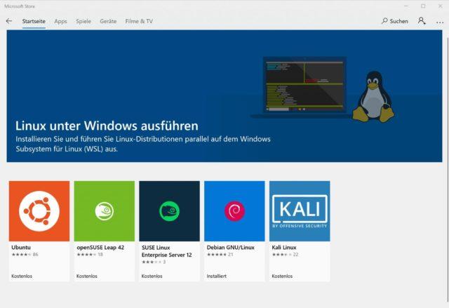 Linux-Distris Windows Store