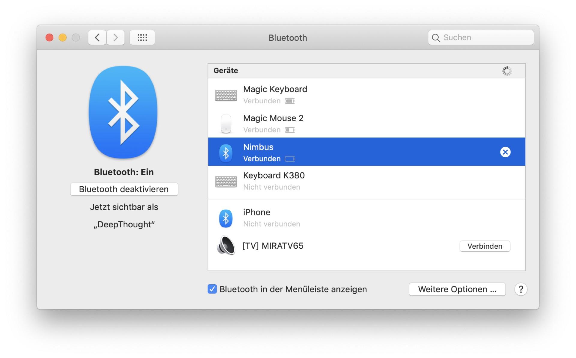 Die Kopplung ist auch unter MacOS schnell erledigt. Das Nimbus merkt sich bis zu 5 Geräte.