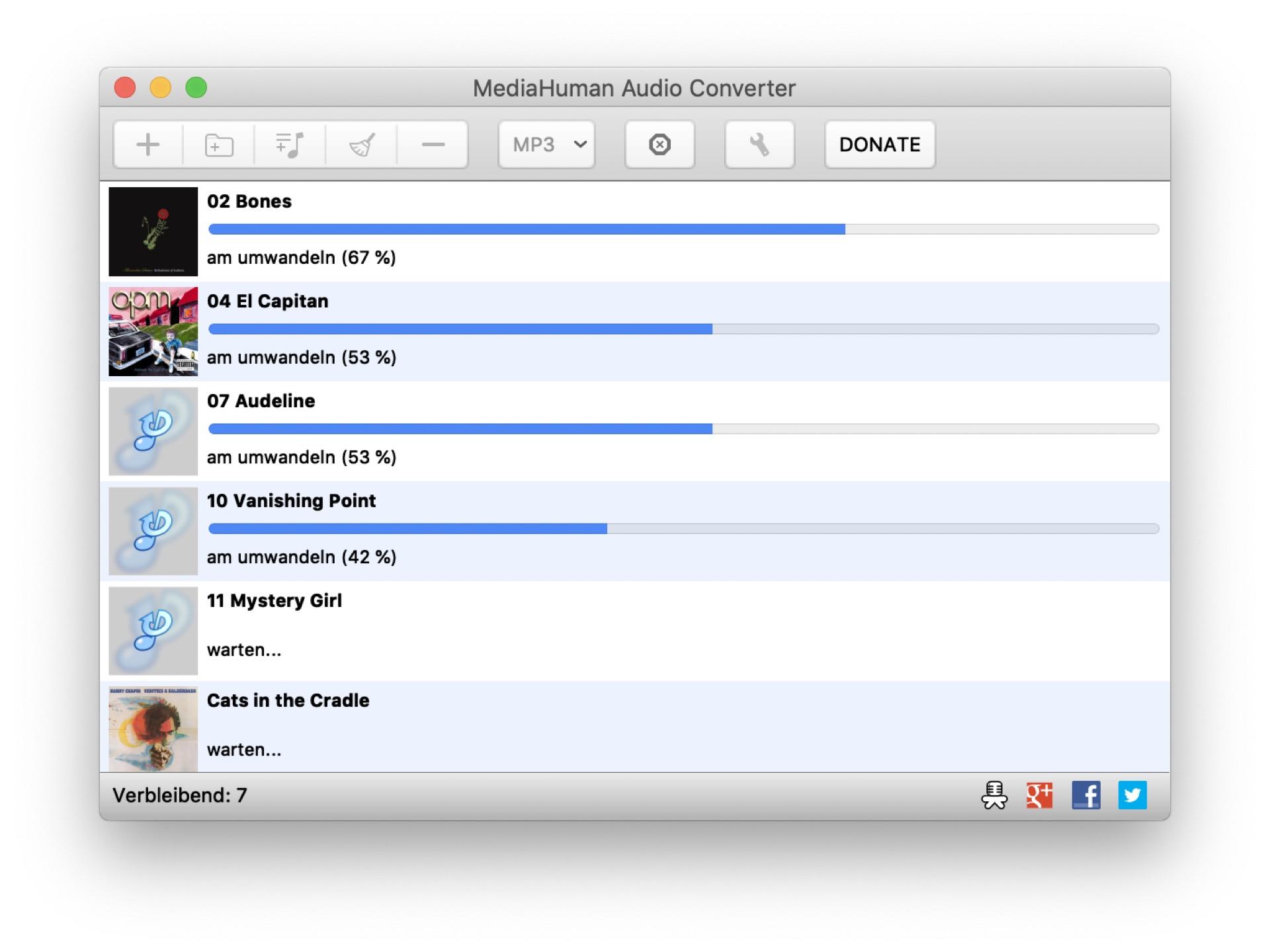 Mit dem Gratis-MP3-Converter von Mediahuman ist die Musiksammlung schnell in MP3 gewandelt.