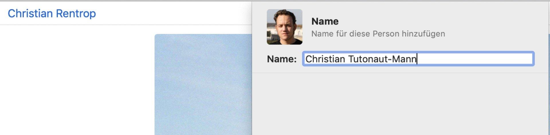 Coolerer Nachname gefällig? Kein Problem mit Apple Fotos!