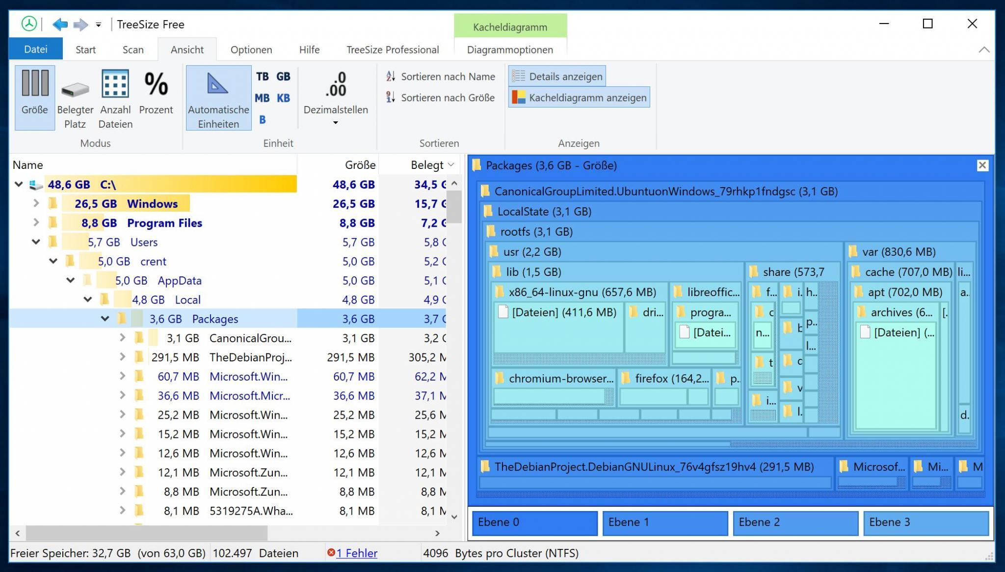 Mit einem Tool wie Treesize Free könnt Ihr Eure Festplatte auf Platzfresser untersuchen.