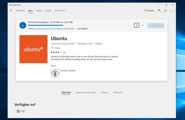 Ubuntu Windows 10 Store