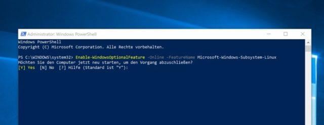 Windows-Subsystem für Linux aktivieren