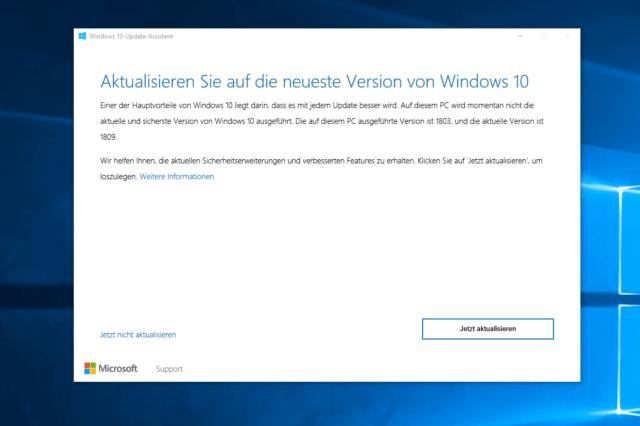 Windows 10 Oktober Update Assistent
