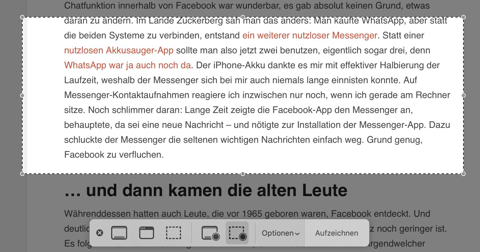 Die Screenshots-App bietet eine Reihe praktischer Optionen.