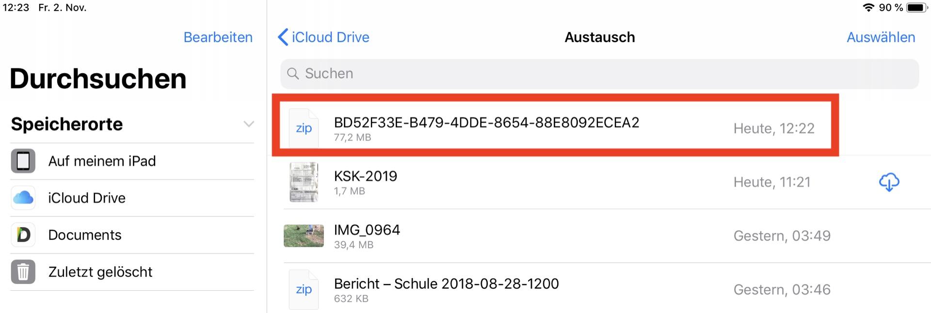 Fertig: Das ZIP liegt im iCloud-Drive und kann von dort aus weiter verwendet werden.