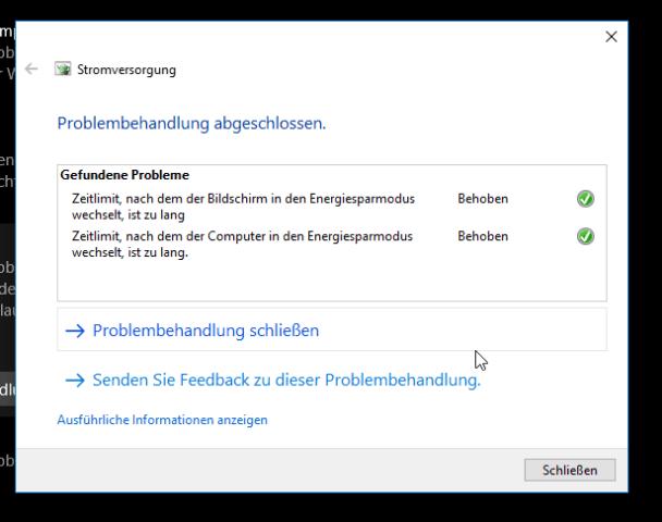 Stromversorgung Windows 10