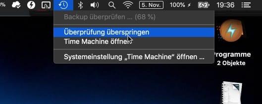 Time Machine abbrechen