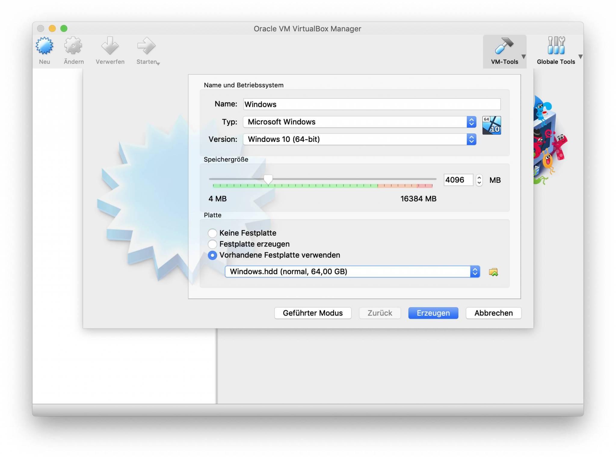 Erstellt jetzt eine VirtualBox-VM mit der Parallels-HDD als Festplatte.