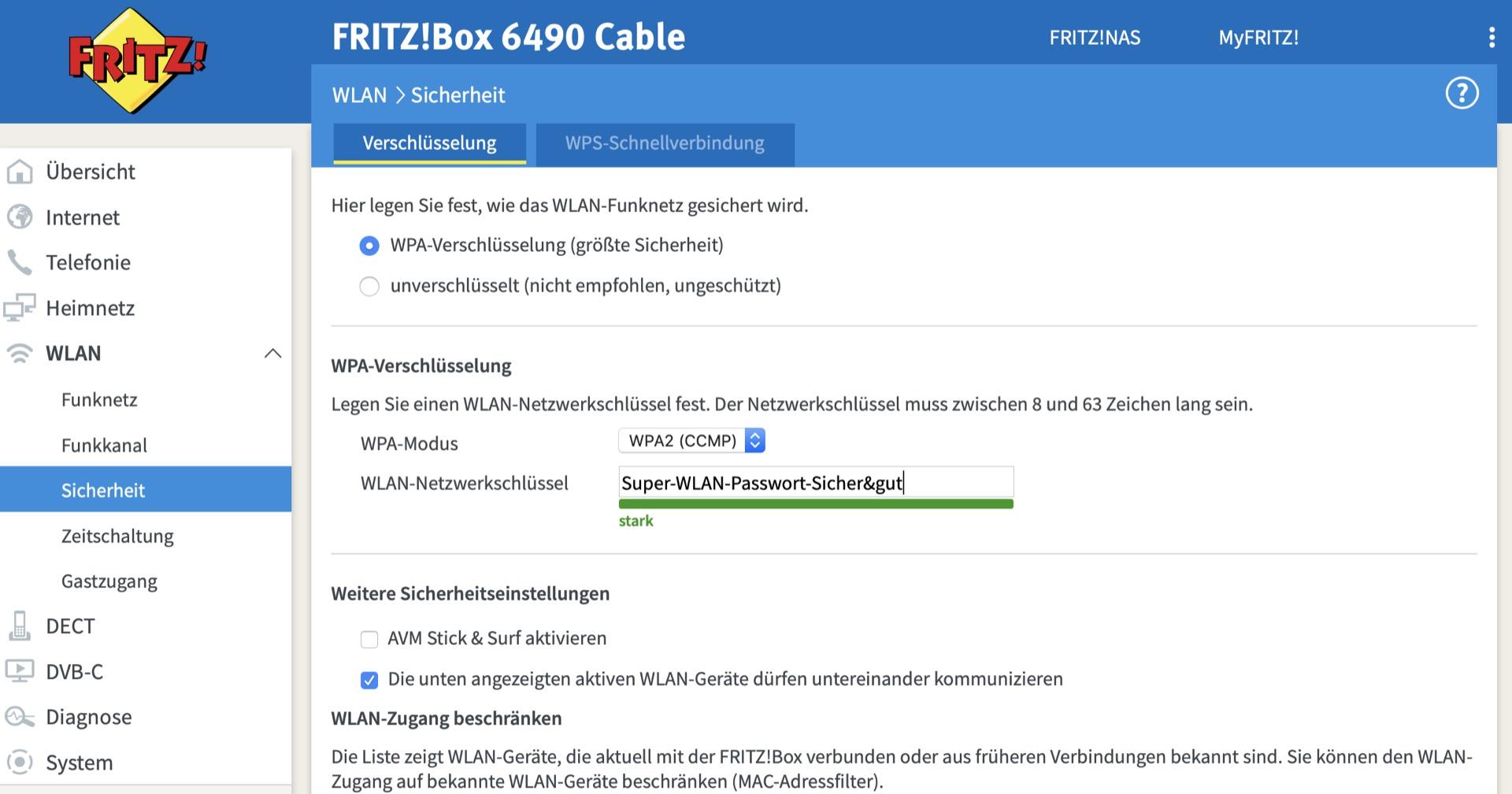 Das WLAN-Passwort ist direkt in der FritzBox hinterlegt.