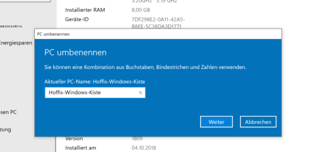 Windows 10 PC umbenennen