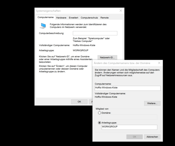 Windows 7 PC umbenennen