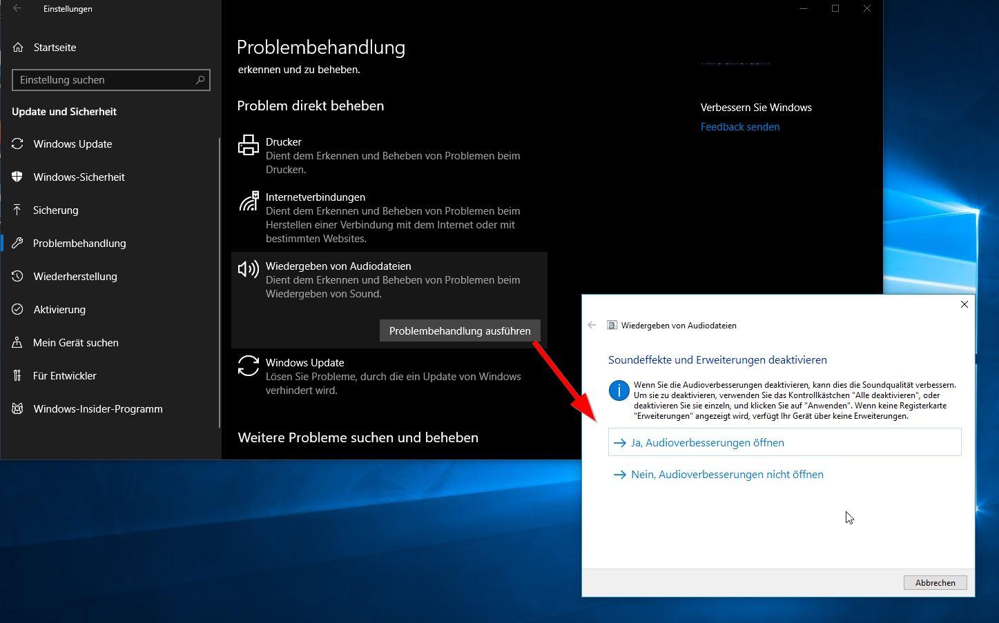 Windows Problembehebung
