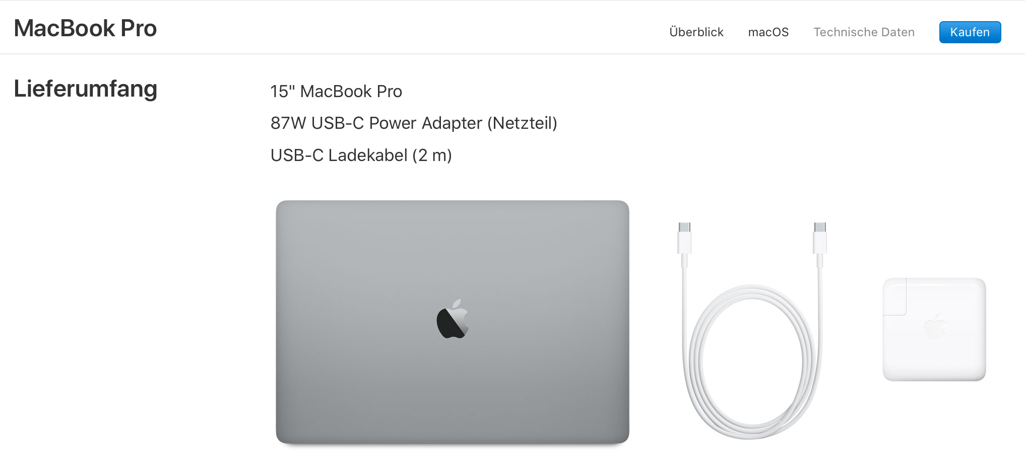 Das MacBook Pro kommt mit einem dicken 87-Watt-Netzteil. (Bild: Screenshot Apple.de)