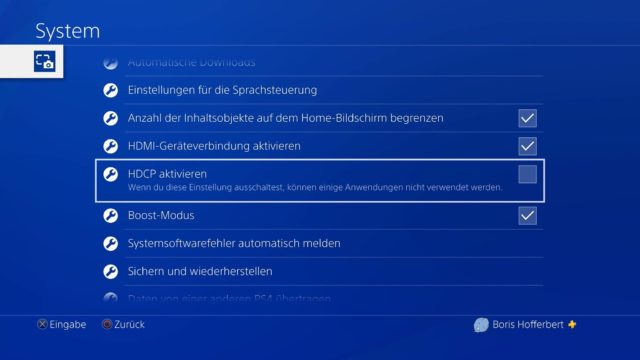 HDPC abschalten PlayStation 4