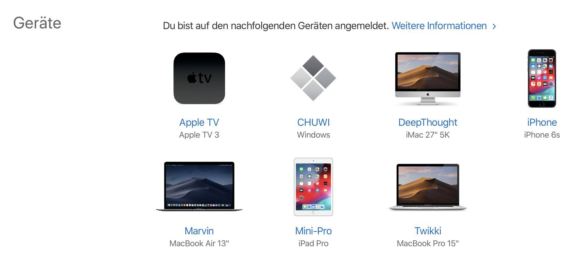 Ihr seht jetzt die Übersicht all Eurer Geräte, die mit der Apple-ID verbunden sind.