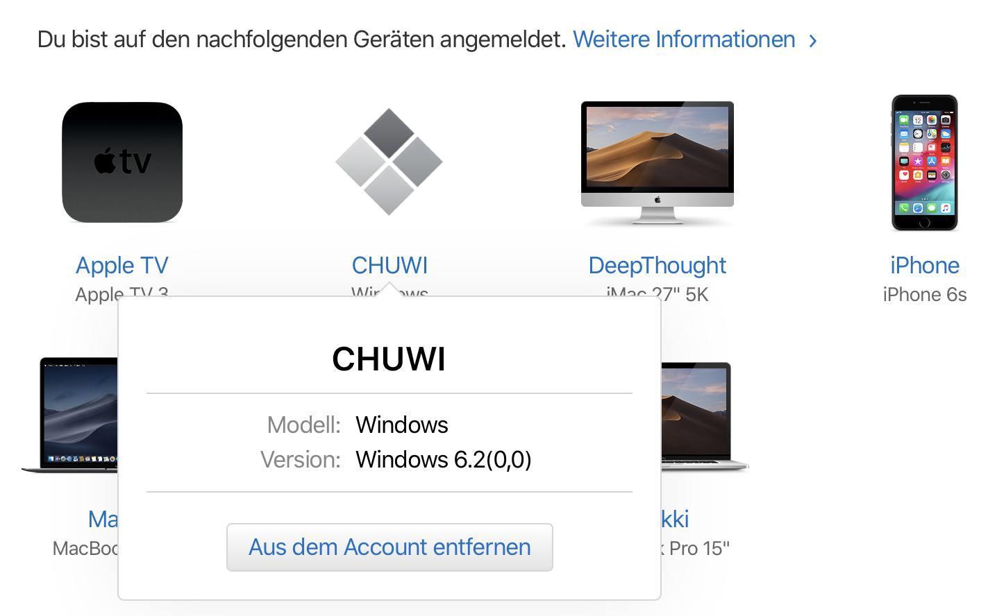 Das Apple-Konto erlaubt das Entfernen nicht mehr genutzter Geräte.