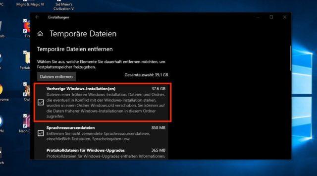 Vorherige Windows-Versionen entfernen