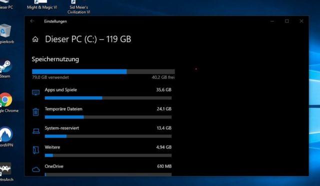 Windows 10 Festplatte Belegung