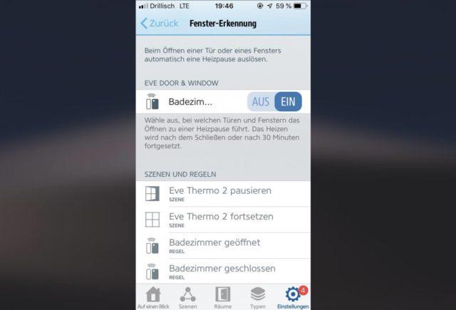 Eve App Szenen einrichten