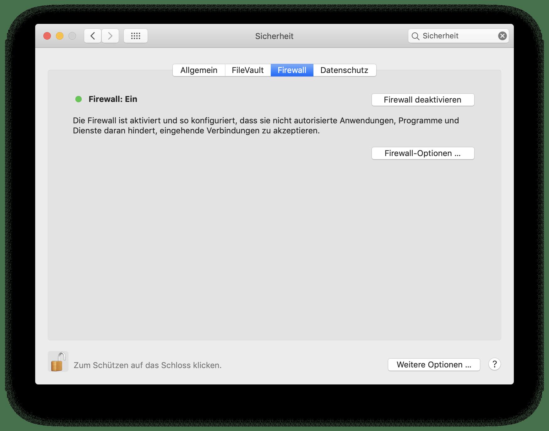 Anschließend könnt Ihr die MacOS-Firewall aktivieren.
