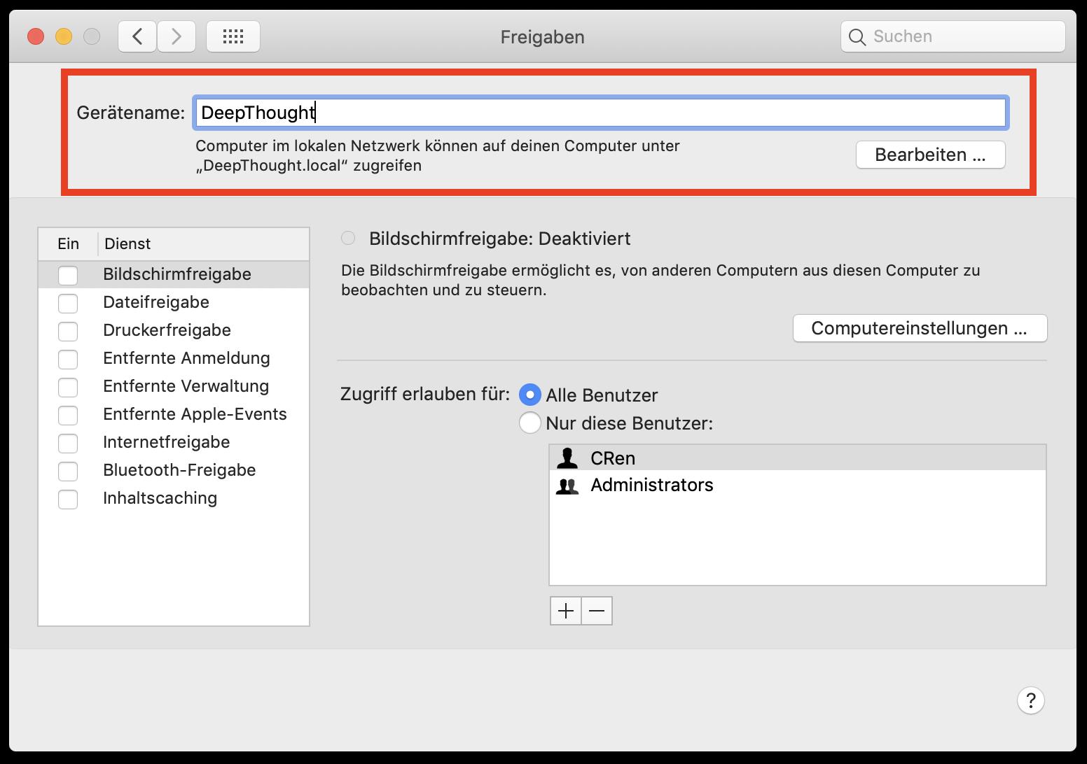 Den Gerätenamen eines Macs könnt Ihr über die Systemeinstellungen ändern.