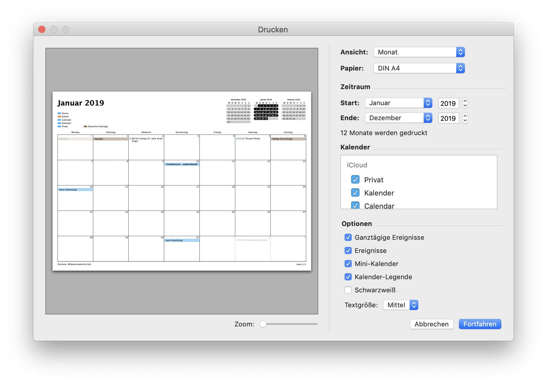Beispiel für Kalender-Druckfunktion.