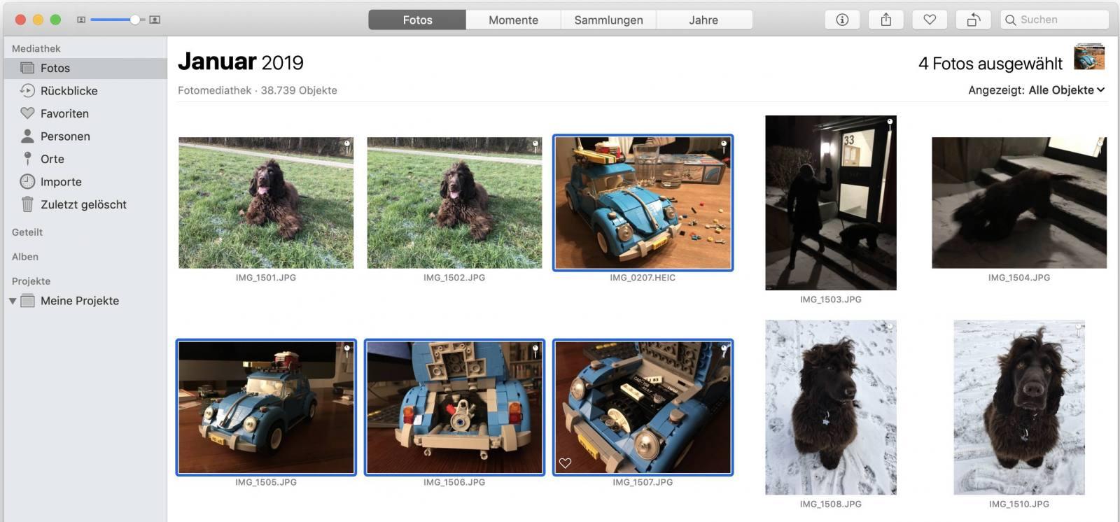 Wählt die Bilder zunächst in der Mail-App aus.