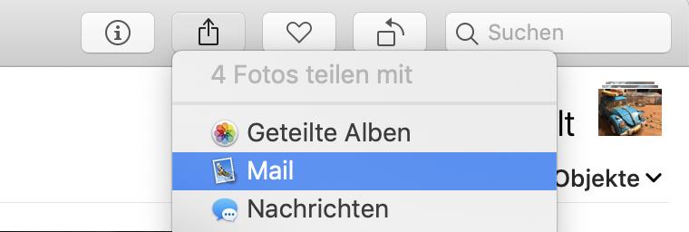 """Im Teilen-Dialog findet Ihr den Punkt """"E-Mail""""."""