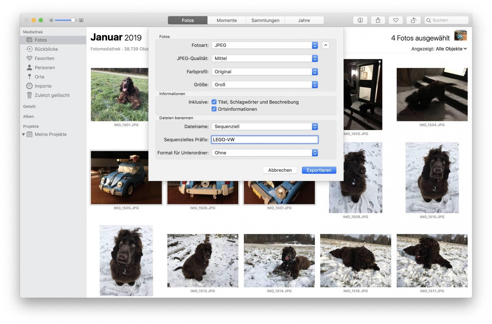 Ihr könnt Bilder direkt mit der Fotos-App verkleinert exportieren.