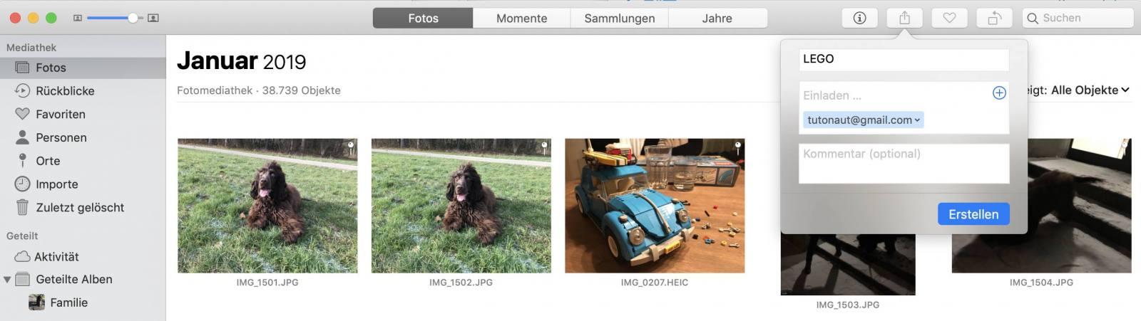 Per iCloud-Fotofreigabe könnt Ihr auch Bilder in Originalgröße teilen.