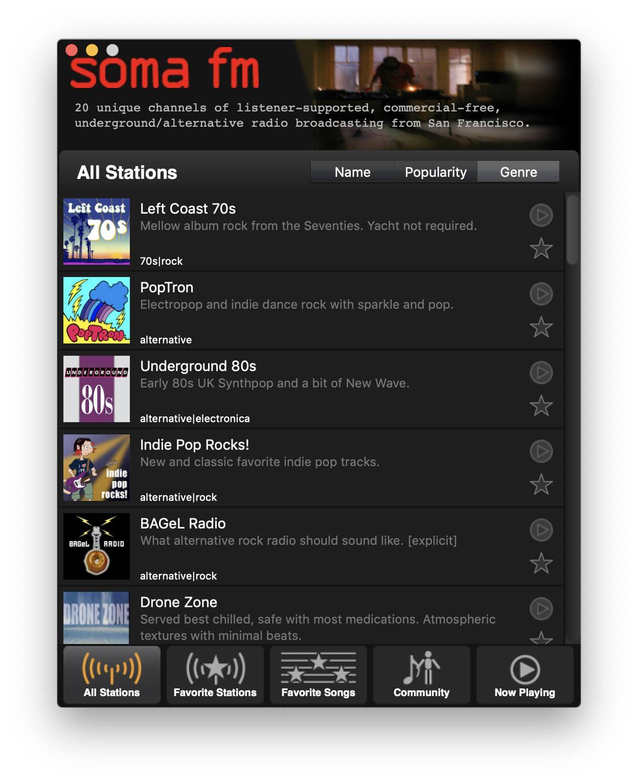 SomaFM bietet eine interessante Stationen-Auswahl.