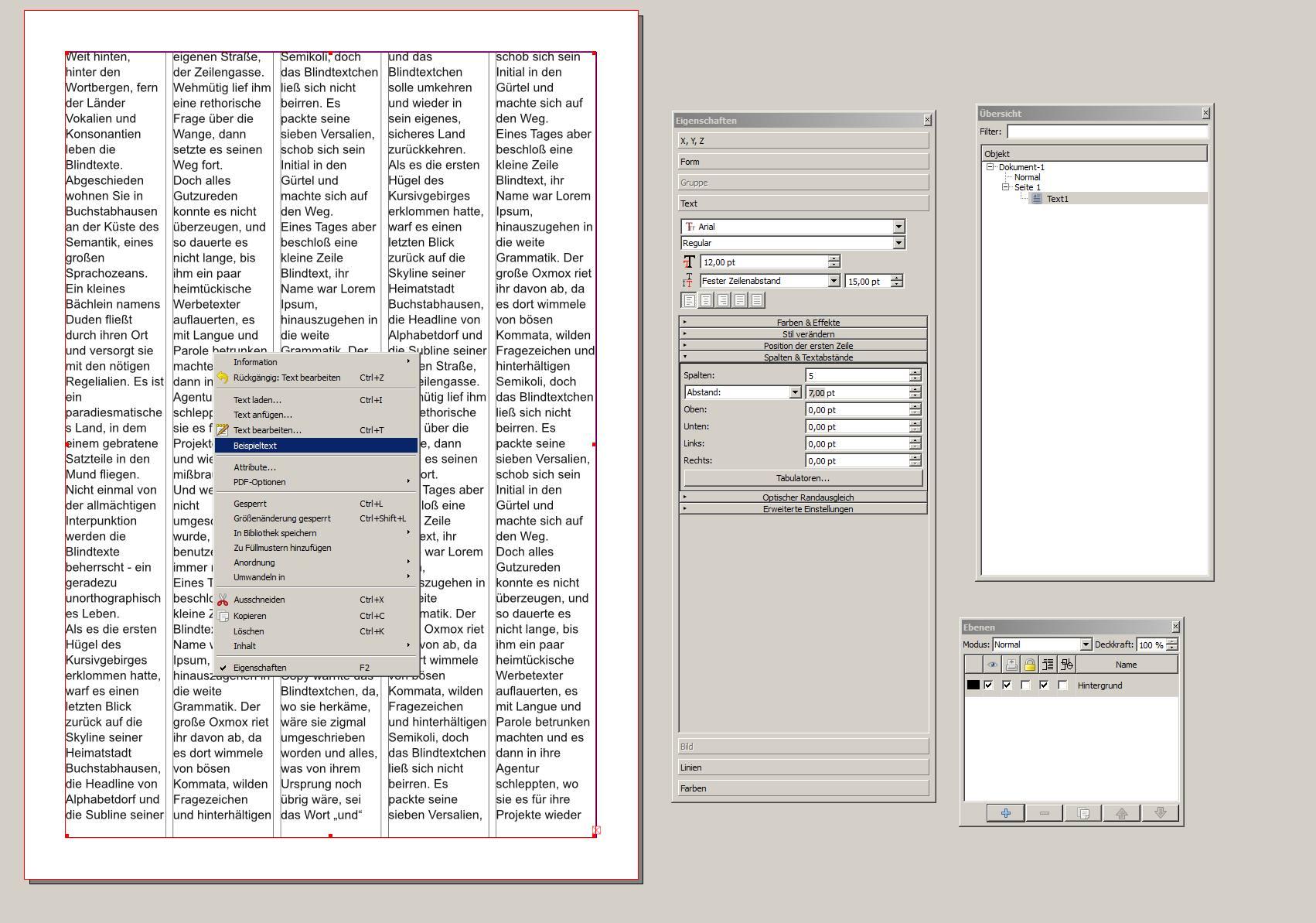 scribus textfluss layout
