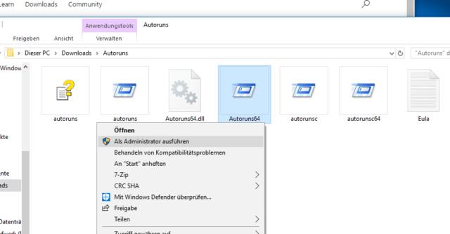 Autoruns Windows starten