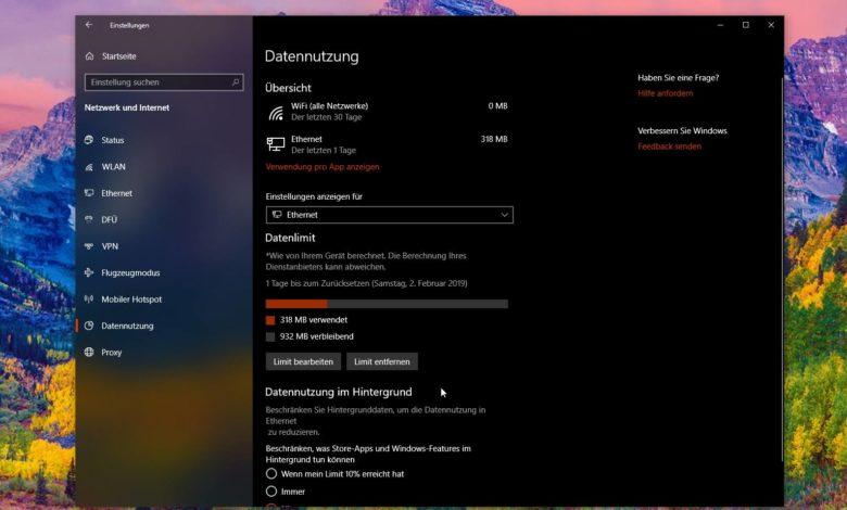 Datenlimit Windows 10 einstellen